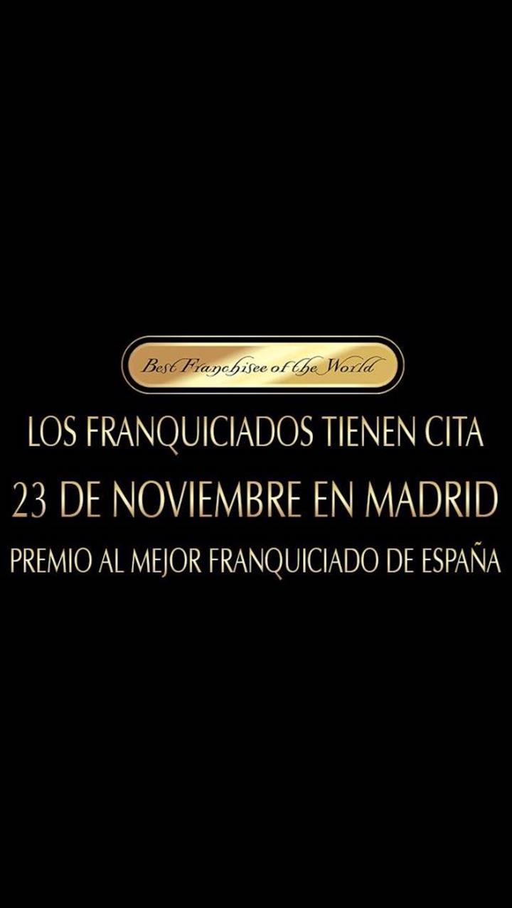 No dia 23 de Novembro de 2017 irá se realizar em Madrid a entrega dos prêmios – Best Franchise of the World.