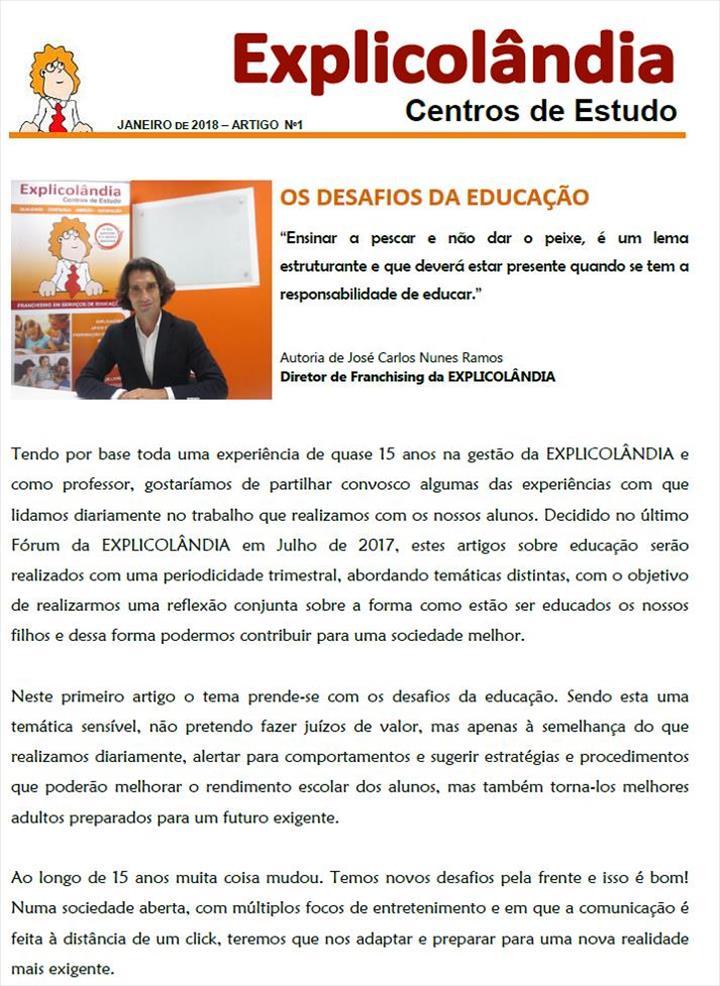 A EXPLICOLÂNDIA irá publicar com uma periodicidade trimestral artigos sobre Educação abordando temáticas distintas.