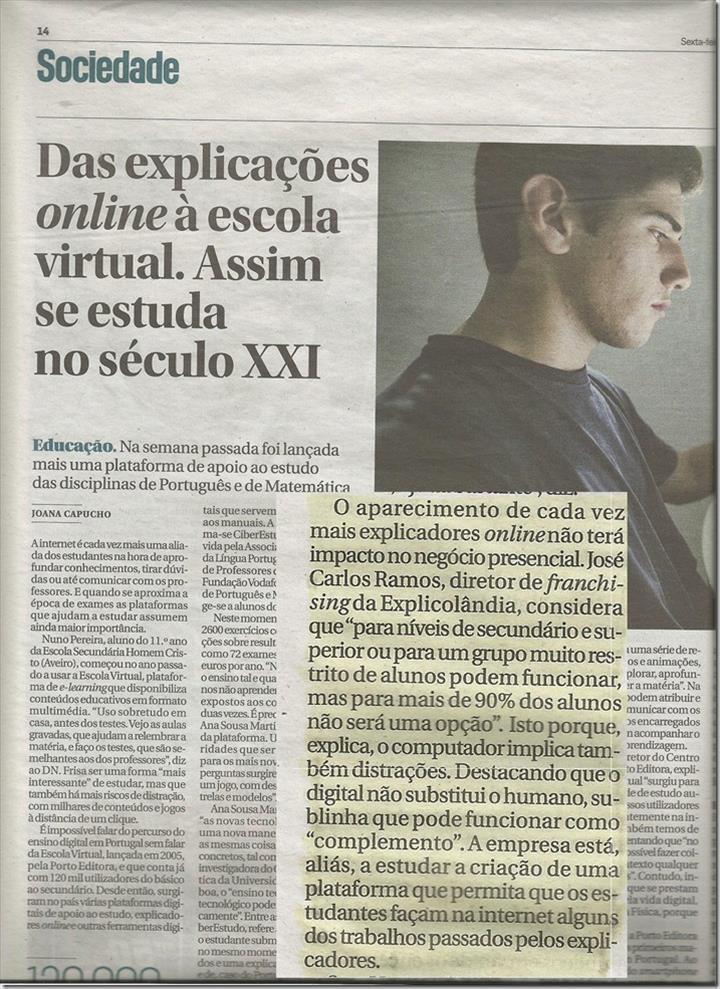 EXPLICOLÂNDIA em destaque no Jornal Diário de Noticias (Das Explicações Online à Escola Virtual, 9/6/2017)